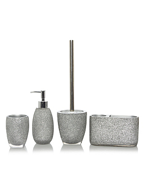 Silver Glitter Bath Accessories Range Main View  Bathroom