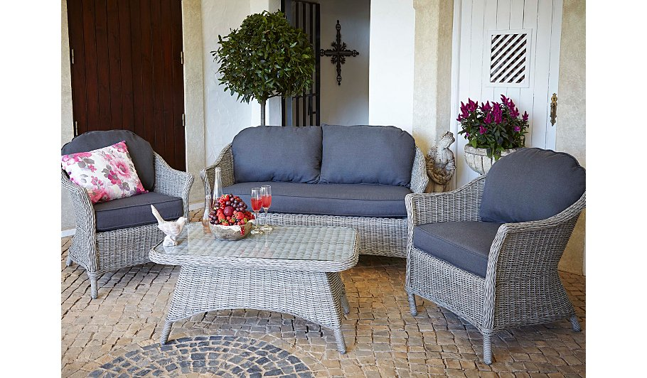 George Home Shore 4 Piece Sofa Set In Grey & Charcoal