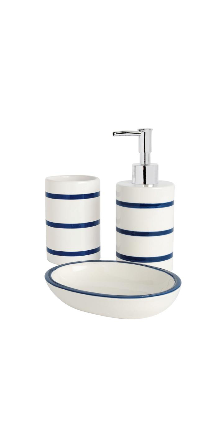 Striped bathroom accessories