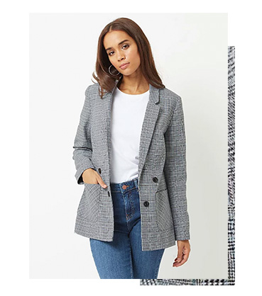 Pull your look together with a grey blazer