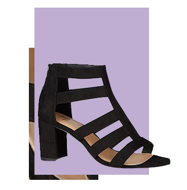 Elevate your look with a pair of black caged heels