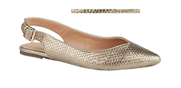 Steal the spotlight in a pair of gold-tone flats