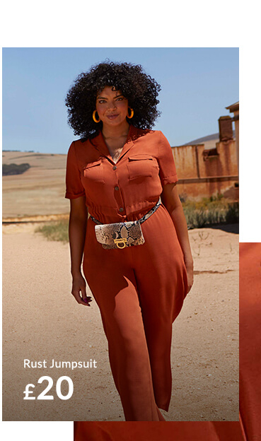 Make a statement in a rust-coloured jumpsuit