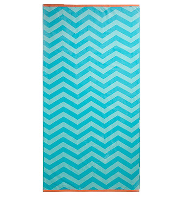 Soak up the sun in style with this blue chevron beach towel