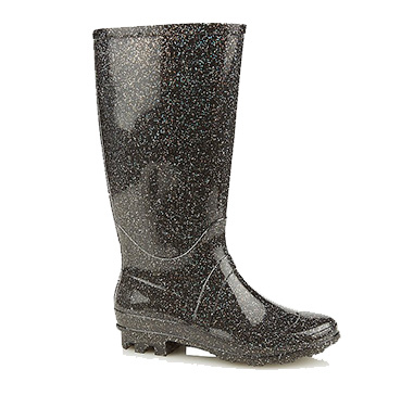 Keep feet safe and dry if the weather turns in this fantastic pair of wellies with an all-over glitter effect