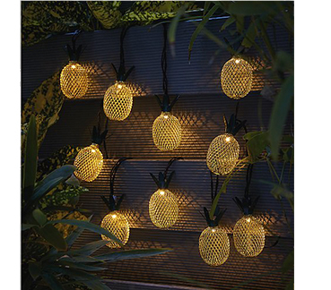 Turn your garden into a bright tropical paradise with this 10 pack of pineapple string lights