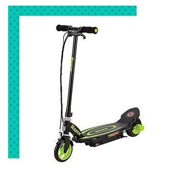 This electric scooter with push button acceleration offers speeds up to 10 mph