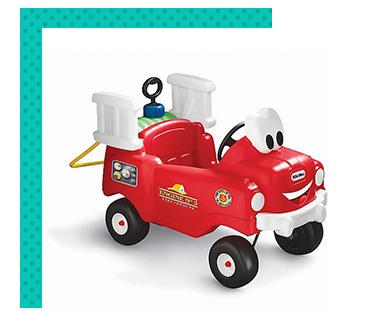 Little Firefighters can ride to the rescue in this adorable Spray & Rescue Fire Truck, complete with hose that really squirts water!