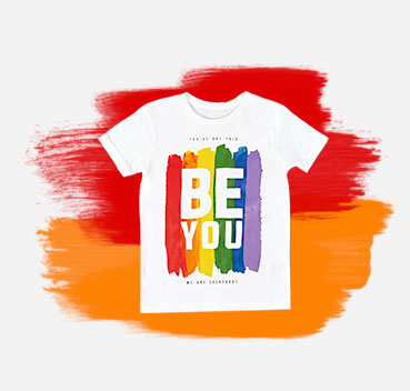 Be yourself with this rainbow Pride white T-shirt