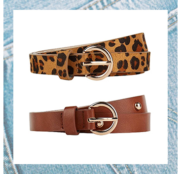 Add the finishing touch to your outfits with this pack of 2 belts. Including one leopard print and brown belt, finished with gold-effect buckles