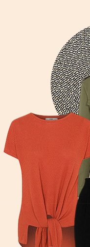 Break up your look with a bright orange T-shirt