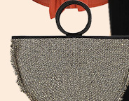 Complete your look with a wicker half moon bag