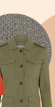 Throw on a khaki military-style jacket for added edge