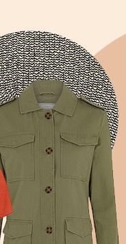 Throw on a khaki military-style jacket for added edge