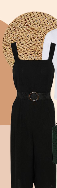 This black culotte jumpsuit features a belt and a straight neck