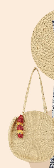 This round woven bag comes with a long strap and multi-coloured tassel