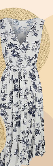 Designed with florals, this dress features a deep V-neck cut and asymmetric hem
