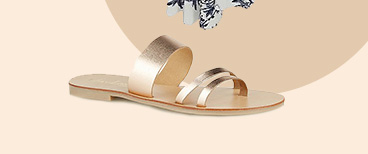 Get sunshine-ready with these sandals designed with three gold straps