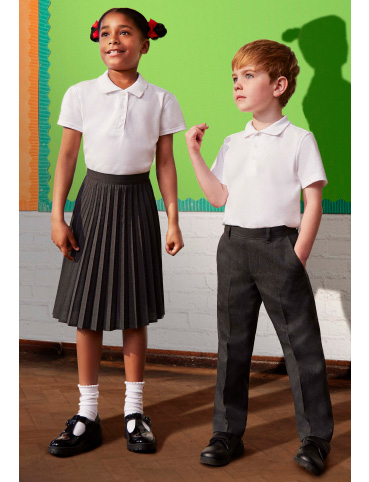 The Teflon® finish of our school trousers and skirts helps keep stains at bay