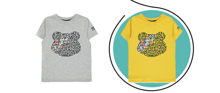 Yellow and grey Children in Need 2019 T-shirt with Pudsey Bear head shape designed out of positive words