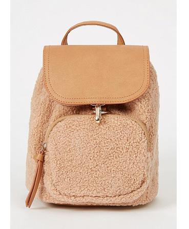 Brown boucle mini rucksack