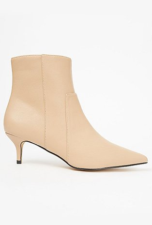 Camel pointed ankle boots.