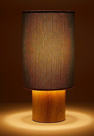 Orange Cord table lamp with wooden base