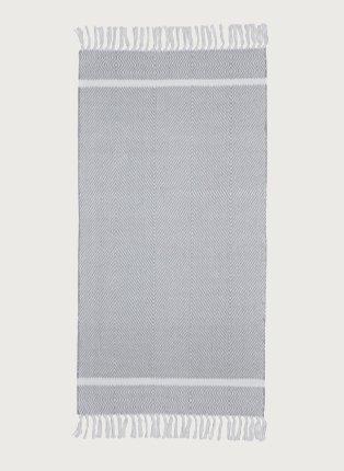 Grey herringbone tassel rug.