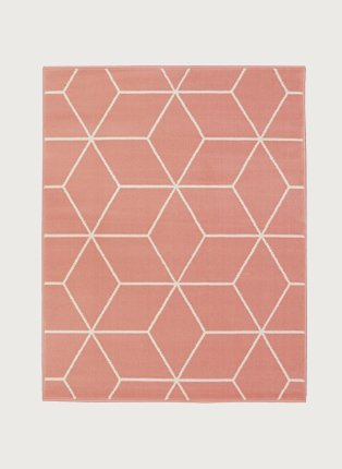Pink geometric rug.