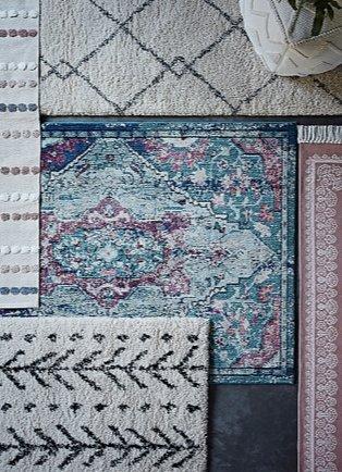 Homemaker natural Berber noble runner, multi distressed traditional rug, pink mandala print cotton rug, cream Berber shaggy rug and multicoloured tufted spot cotton rug.
