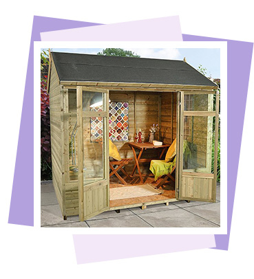 The striking Kempsford 8x6 Summerhouse from Forest has a reverse apex roof combined with large double doors
