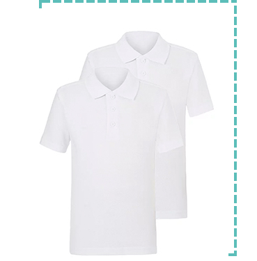 These two white short sleeve school polos are made from 100% cotton and Stay White tech