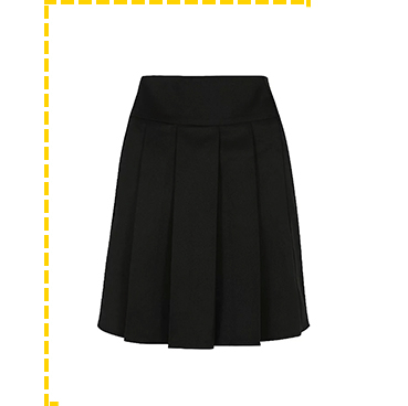 This senior girls black pleated school skirt has an adjustable waistband and permanent pleats