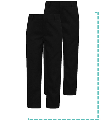 Our pack of 2 black school trousers is a term-time essential