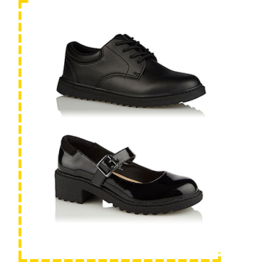 These black school shoes will keep their feet comfy all day long