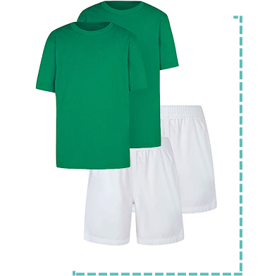This 2 pack of green school T-shirts and white sports shorts will get them ready for PE