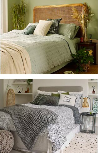 Green bedroom features double bed with light green duvet set, cream throw and assorted scatter cushions in neutral and green. White bedroom features double bed with polka dot duvet set, grey knitted throw and assorted scatter cushions.