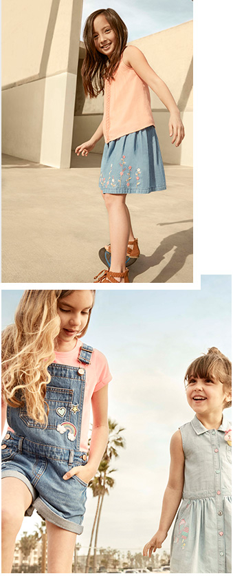 Make sure they're cool for the summer with denim dungarees, skirts and printed tees at Geroge.com