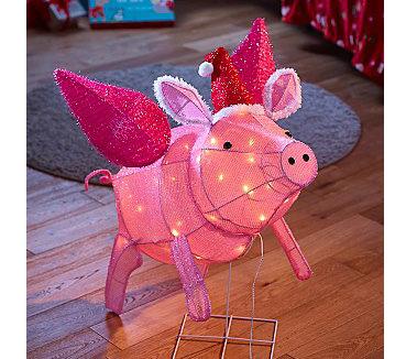 Pink light-up flying pig decoration