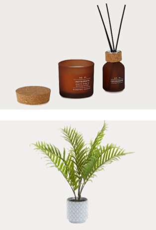 Just Wellness mint & eucalyptus glass candle & reed gift set, artificial palm plant in decorative pot.