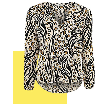 Add edge to your attire with a printed blouse