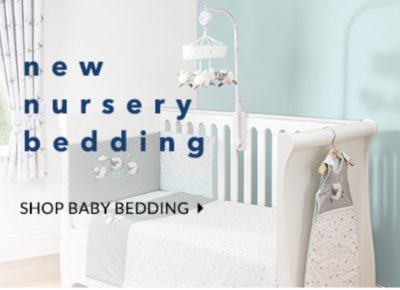 View our range of beautiful bedding for baby and kit out their nursery for less.