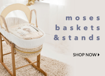 Keep baby safe and cosy in our range of moses baskets. Shop now.