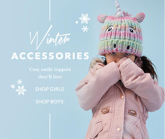 From bobble hats to snug scarfs, shop kids accessories