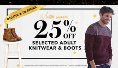 Get 25% off selected men's knitwear and boots at George.com