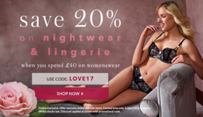 Spend £40 on womenswear and save 20% on nightwear and lingerie at George.com
