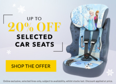 Get up to 20% off selected baby car seats