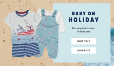 Get them ready for their next vacay. Browse baby' holiday shop