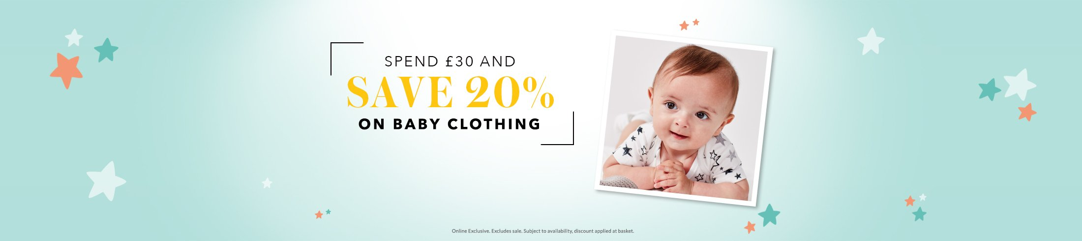 Spend £30 and save 20% on all baby essentials