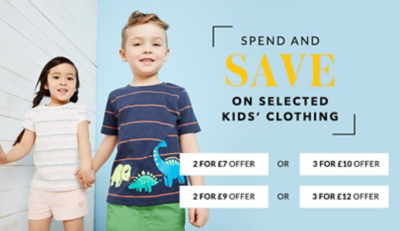 Spend and save on selected kids' clothing